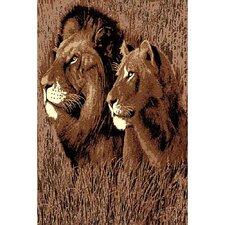 African Adventure Lion Head Area Rug