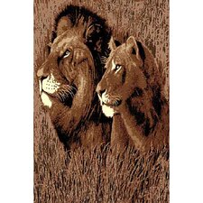 African Adventure Lion Head Novelty Rug