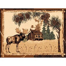 Lodge Design Moose and House Novelty Rug