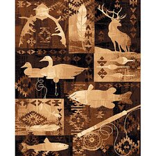 Lodge Design Goose, Fish and Deer Novelty Rug