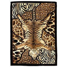 Skinz 72 Mixed Brown Tiger and Animal Skins Print Patchwork Area Rug