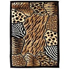 Skinz 74 Mixed Brown Animal Skin Prints Patchwork Area Rug