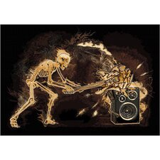 Skinz 76 Mixed Black Skeleton Rock N Roll Design Rug