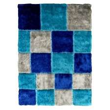 Flash Shaggy Blue Geometric Square Area Rug