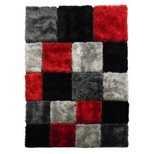 Flash Shaggy Red Geometric Square Rug