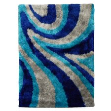 Flash Shaggy Blue Abstract Wave Rug