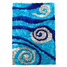 Flash Shaggy Blue Abstract Swirl Rug