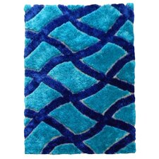 Flash Shaggy Blue Geometric Crosshatched Pattern Rug