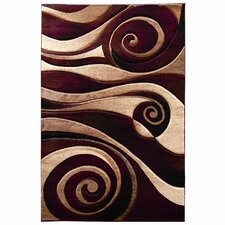 Sculpture Burgundy/Beige Abstract Swirl Area Rug