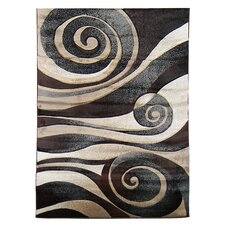 Sculpture Black Abstract Swirl Rug