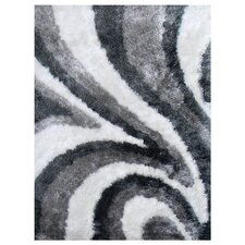 <strong>DonnieAnn Company</strong> Flash Shaggy White Abstract Wave Rug