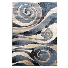 Sculpture Blue Abstract Swirl Rug