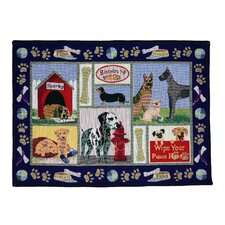 PB Paws & Co. Navy Dog Days Tapestry Rug