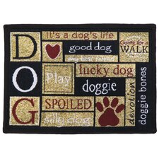 PB Paws & Co. Sand Cinnabar I Love Dogs Tapestry Rug
