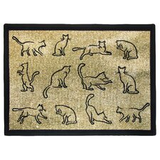 PB Paws & Co. Gold / Black Kitten Fun Tapestry Rug