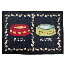 PB Paws & Co. Multi / Black Kitty Meal Tapestry Rug