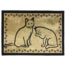 PB Paws & Co. Gold / Black Kitty Pals Tapestry Rug