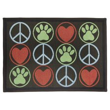 PB Paws & Co. Multi Peace Paws Tapestry Rug