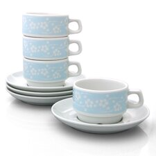 Blue Flora Cups With Saucers Set (Set of 4)