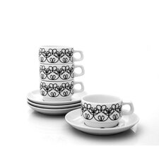 Ribbon Cups With Saucer Set (Set of 4)
