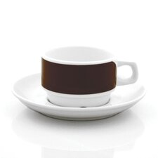Brown Links Cups With Saucers Set (Set of 4)