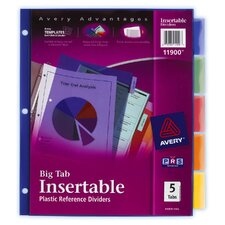 5 Count Assorted Colors Big Tab Insertable Plastic Reference Divider