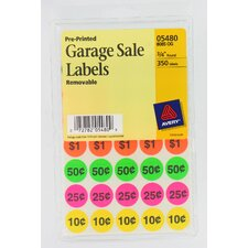 350 Count Assorted Colors Pre-Printed Garage Sale Label
