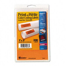 Print Or Write Removable Color-Coding Laser Labels, 1 x 3, 200/Pack