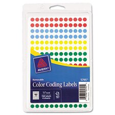 Removable Self-Adhesive Round Color-Coding Labels