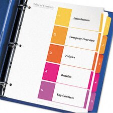 Ready Index Contemporary Table of Contents Dividers, 6 Sets in Multi