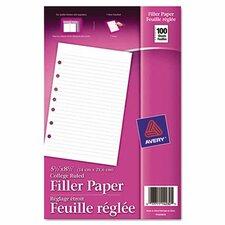 Mini Binder Filler Paper 100 Sheets