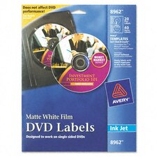 Inkjet DVD Labels, 20/Pack