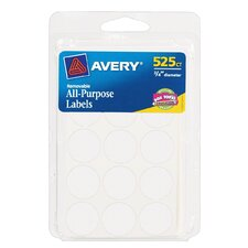 "0.75"" Round Removable Label 525 Count"