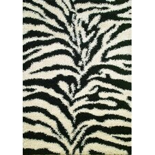 Shaggy Zebra Black/White Area Rug