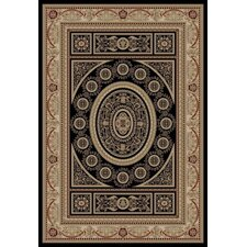 Gem Aubusson Black Rug
