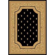 Imperial Charlemagne Black Fleur De Lys Area Rug