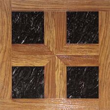 "16"" x 16"" Vinyl Tiles in Paramount Woodtone/Black Marble"
