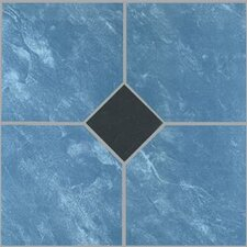 "12"" x 12"" Vinyl Tile in Blue Marble / Black Diamond"