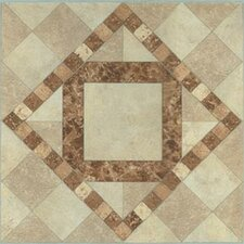 "12"" x 12"" Vinyl Tile in Beige / Brown Diamond"