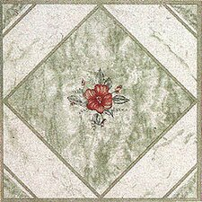 "12"" x 12"" Vinyl Tile in Light Green/ Red Flower"