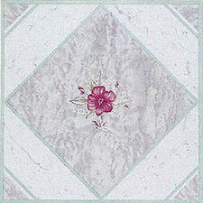 "12"" x 12"" Vinyl Tile in Light Taupe / Pink Flower"