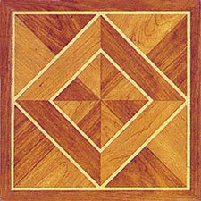"12"" x 12"" Vinyl Tile in Machine Light / Dark Wood Diamond"