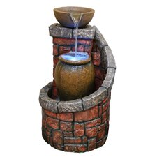 Tiered Brick Fountain with LED Lights