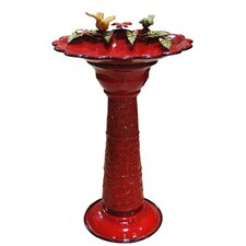 Metal Birdbath in Red