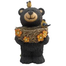 Bear Statue with Decorative Bird Feeder