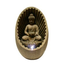 Buddha Fiberglass Tabletop Fountain with LED Lights