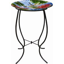 Dragonfly and Flowers Glass Birdbath with Stand