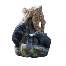 Fiberglass Bears Waterfall Fountain with LED Light