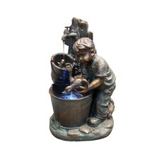 Fiberglass Resin Boy Washing Duck Fountain with LED Light