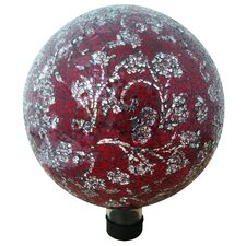 <strong>Alpine</strong> Mosaic Glass Gazing Globe with Flower Pattern